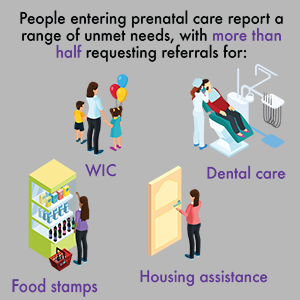 graphic of social service needs of women seeking prenatal care