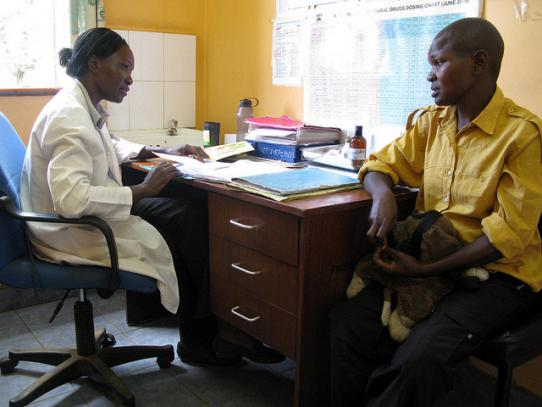 Provider and patient in HIV clinic