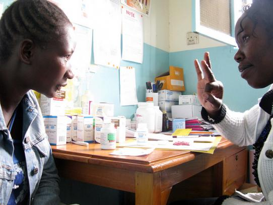 Provider counsels woman on HIV prevention